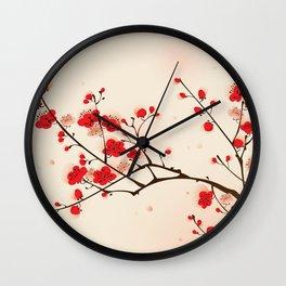 Oriental plum blossom in spring 009 Wall Clock