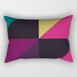Triangle Shapes Texture, Retro Style, Purple, Turquoise, Yellow, Pink and Black Rectangular Pillow