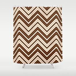 Retro Zigzag Pattern Cream Rust Brown Shower Curtain