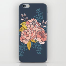 Moody Florals - Blue + Pink iPhone Skin