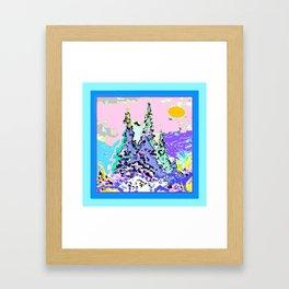 Contemporary Winter Mountain Trees Landscape Framed Art Print