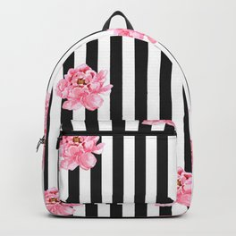 Hand painted pink watercolor black white stripes floral Backpack