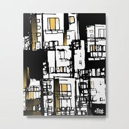 Black & Yellow Fire Escape Metal Print