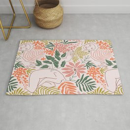 Wild tropical young woman Rug