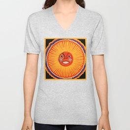 The sun Huichol art Unisex V-Neck
