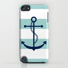 Navy Blue and Mint Anchor and Stripes iPod touch Slim Case