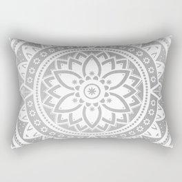 Silver & White Patterned Flower Mandala Rectangular Pillow