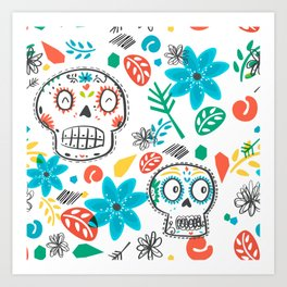 Summer sugar skulls Art Print