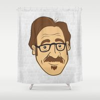 marc Shower Curtains featuring Illustrating Comics: Marc Maron by Jesse Hansonl Design & Illustration