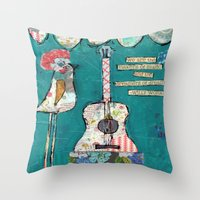 willy wonka Throw Pillows featuring Bird with guitar, willy wonka quote, mixed media, turquoise, whimsical by sunshine girl designs