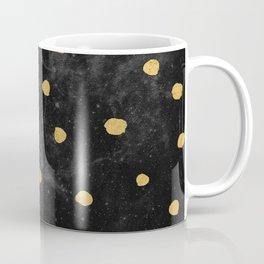 Gold Dots on Black Space Pattern Coffee Mug