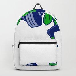 Alligator Lifting Heavy Barbell Mascot Backpack