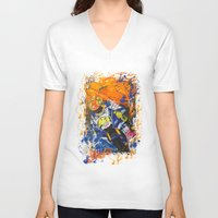 moto V-neck T-shirts featuring Moto Splash by Joshua Meno