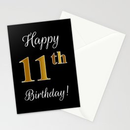 """Elegant """"Happy 11th Birthday!"""" With Faux/Imitation Gold-Inspired Color Pattern Number (on Black) Stationery Cards"""