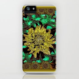 Stylized Abstracted  Khaki-Yellow Chrysanthemums Floral iPhone Case