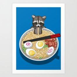 Raccoon Ramen Art Print