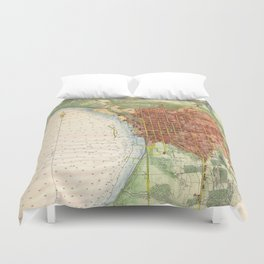 Vintage Map of Burlington Vermont (1872) Duvet Cover