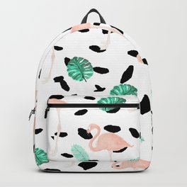 Tropical pink flamingo green watercolor leaf black polka dots llustration pattern Backpack