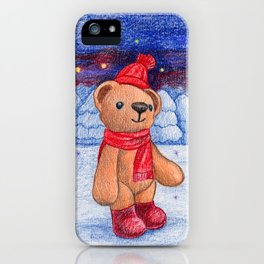bear with sock cap iPhone Case