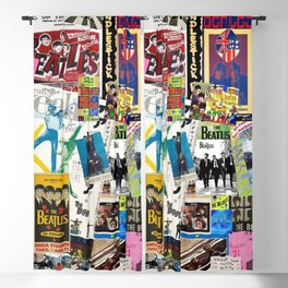 British Rock and Roll Invasion Fab Four Vintage Concert Rock and Roll Photography / Photographs Collage  Blackout Curtain