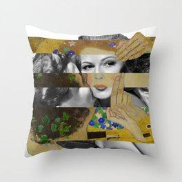Klimt's The Kiss & Rita Hayworth with Glenn Ford Throw Pillow