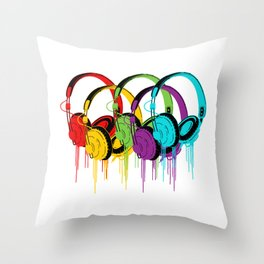 Colorful Headphones Throw Pillow