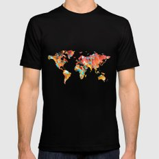Geometric Map X-LARGE Black Mens Fitted Tee