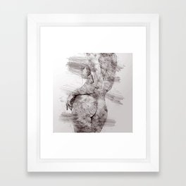 Nude woman pencil drawing Framed Art Print