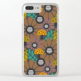 Autumn flowers, leaves and mushrooms Clear iPhone Case