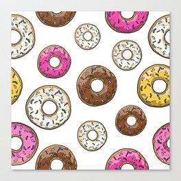 Funfetti Donuts - White Canvas Print