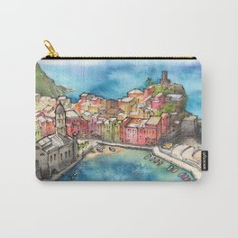 Cinque Terre ink & watercolor illustration Carry-All Pouch