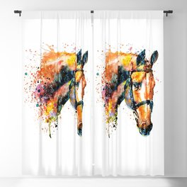 Colorful Horse Head Blackout Curtain