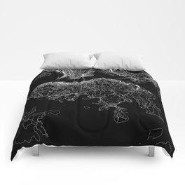 Hong Kong Black Map Comforters