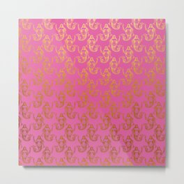 Pink Gold Mermaids Metal Print