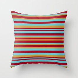 Golden, Red Wine and Turquoise Vintage Stripes Throw Pillow