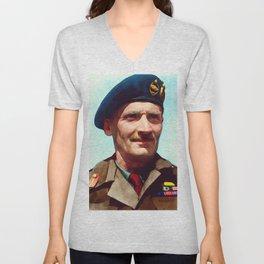 General Bernard Montgomery, WWII Leader Unisex V-Neck