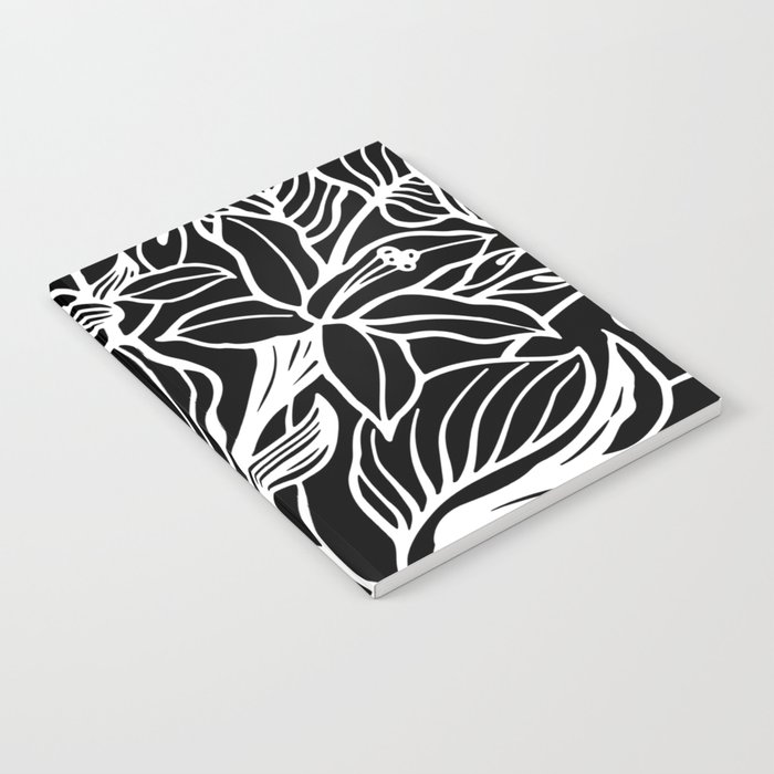 Black White Floral Minimalist Notebook