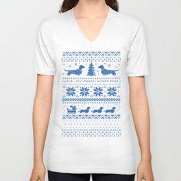 Love Joy Peace Wiener Dogs Blue Pattern Unisex V-Neck