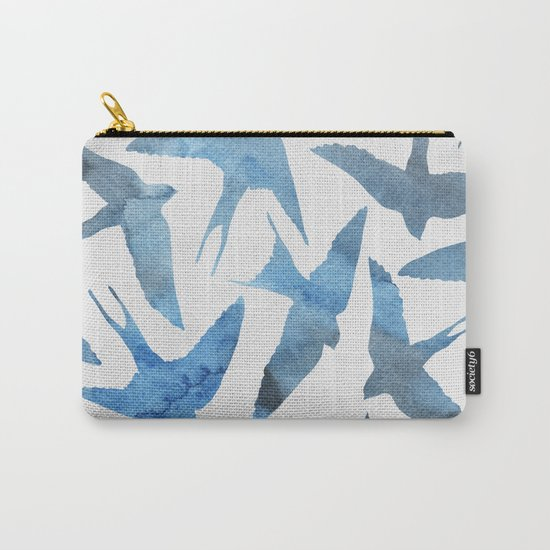 Watercolor blue birds Carry-All Pouch