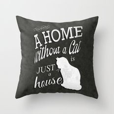 Home with Cat Throw Pillow