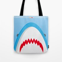 jaws Tote Bags featuring Jaws by Daniel Anastasio