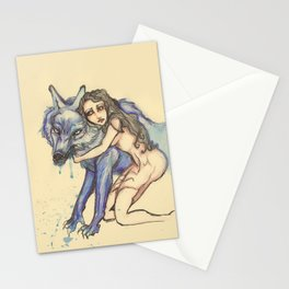 protection by wolf Stationery Cards