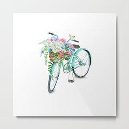 Vintage Aquamarine Bicycle with Flower Basket Metal Print