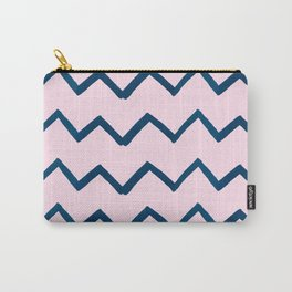 Geometric baby pink navy blue watercolor chevron Carry-All Pouch