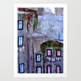 Houses in Milan in the evening Italy Art Print