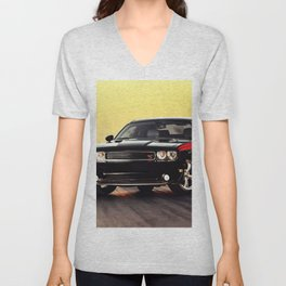 Black Challenger RT Classic with red badging and stripes Unisex V-Neck
