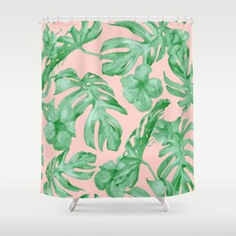 Island Life Coral Pink + Green Shower Curtain