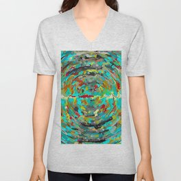 psychedelic circle pattern painting abstract background in green blue yellow brown Unisex V-Neck