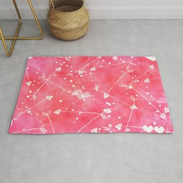 Hearts Stars Arrows Pink Watercolor Background Rug