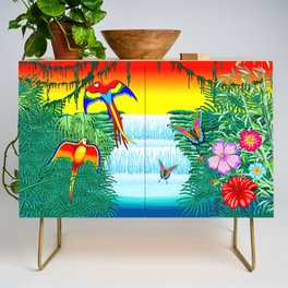 Waterfall Macaws and Butterflies on Exotic Landscape in the Jungle Naif Style Credenza